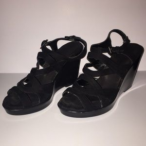 Aerosoles black wedge sandles 8 1/2